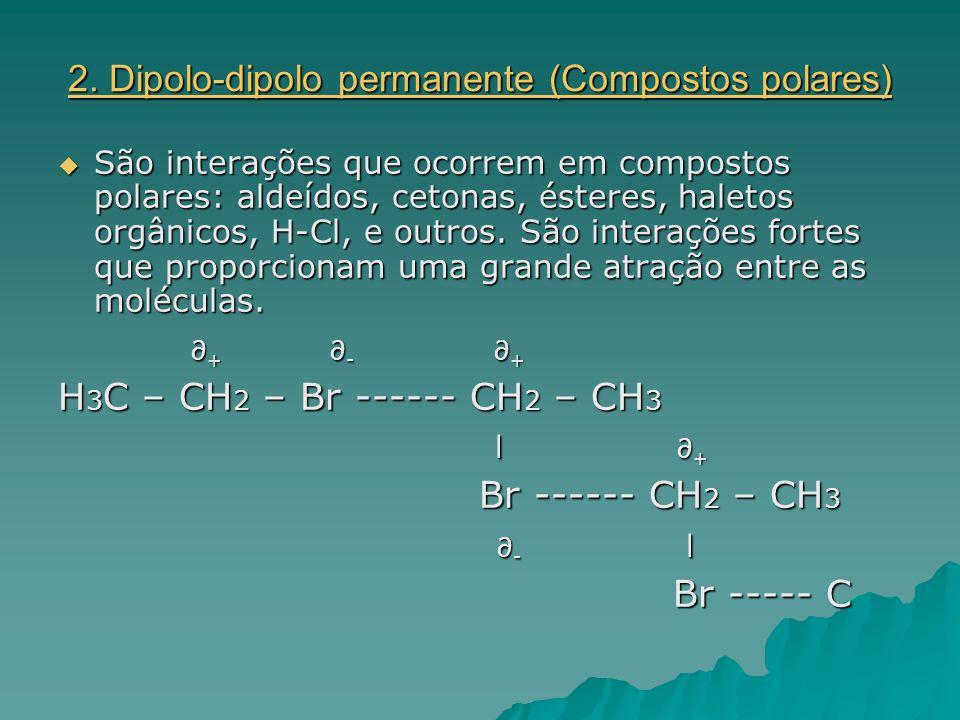 2. Dipolo-dipolo permanente (Compostos polares)  São interações que ocorrem em compostos polares: aldeídos, cetonas, ésteres, haletos orgânicos, H-Cl