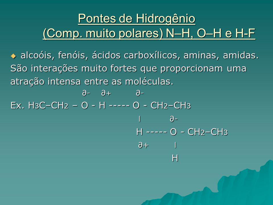 Pontes de Hidrogênio (Comp. muito polares) N–H, O–H e H-F  alcoóis, fenóis, ácidos carboxílicos, aminas, amidas. São interações muito fortes que prop