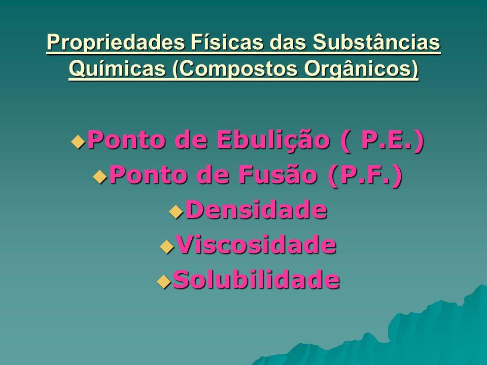 Propriedades Físicas das Substâncias Químicas (Compostos Orgânicos)  Ponto de Ebulição ( P.E.)  Ponto de Fusão (P.F.)  Densidade  Viscosidade  So