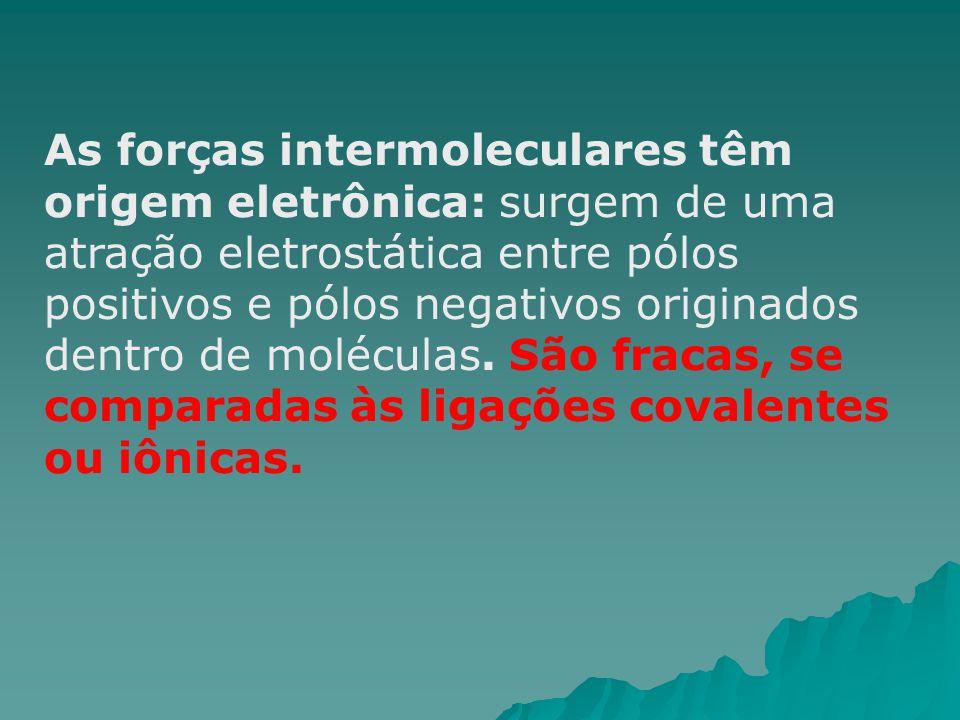 As forças intermoleculares têm origem eletrônica: surgem de uma atração eletrostática entre pólos positivos e pólos negativos originados dentro de mol