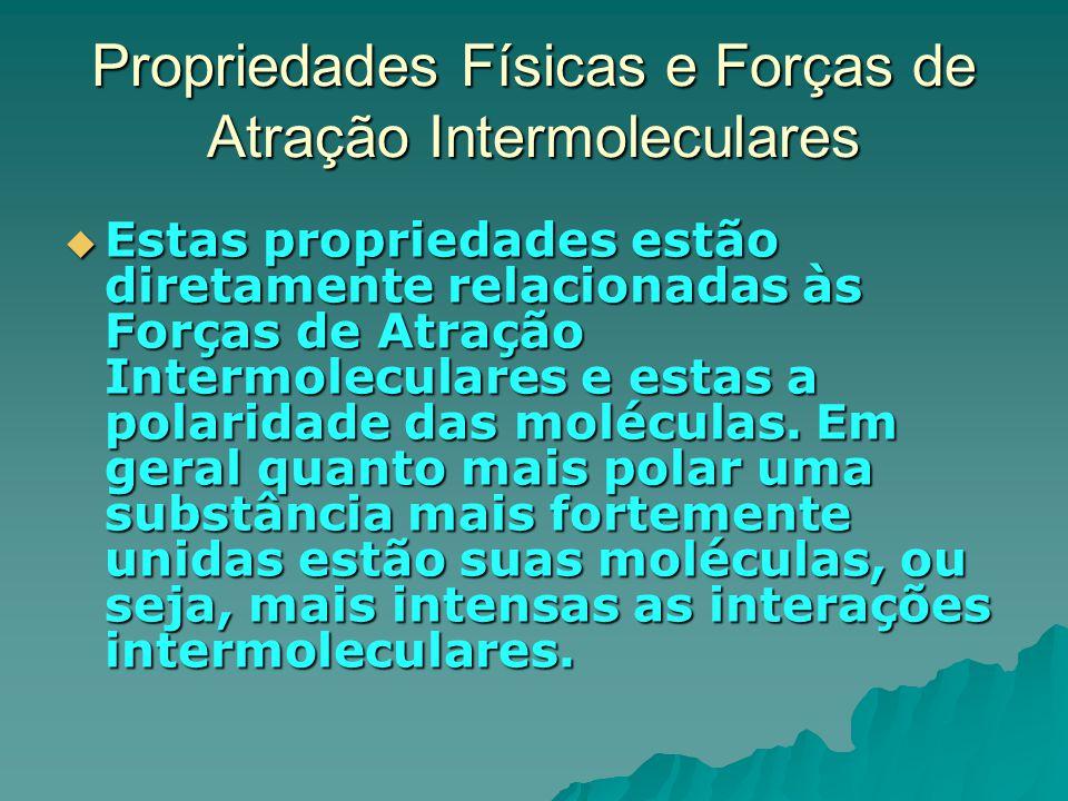 Propriedades Físicas e Forças de Atração Intermoleculares  Estas propriedades estão diretamente relacionadas às Forças de Atração Intermoleculares e