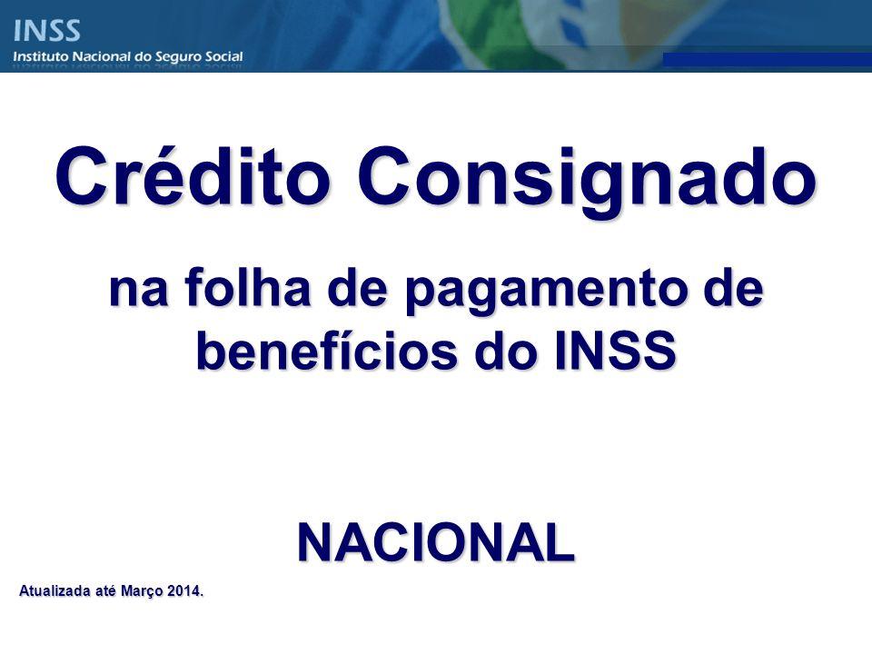 Crédito Consignado na folha de pagamento de benefícios do INSS NACIONAL Atualizada até Março 2014.