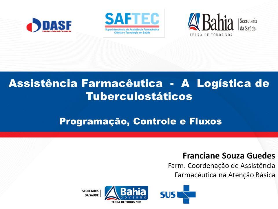 Assistência Farmacêutica - A Logística de Tuberculostáticos Programação, Controle e Fluxos Franciane Souza Guedes Farm. Coordenação de Assistência Far