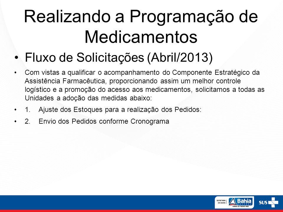 Realizando a Programação de Medicamentos Fluxo de Solicitações (Abril/2013) Com vistas a qualificar o acompanhamento do Componente Estratégico da Assi