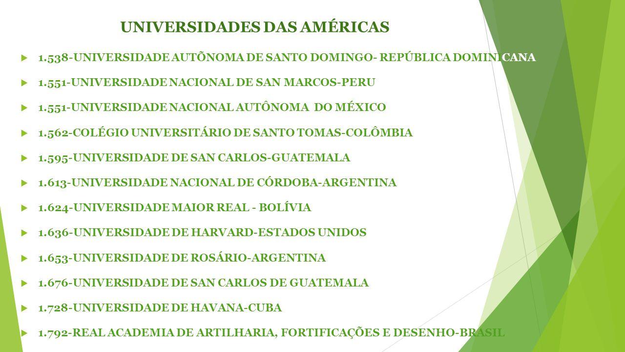 UNIVERSIDADES DAS AMÉRICAS  1.538-UNIVERSIDADE AUTÕNOMA DE SANTO DOMINGO- REPÚBLICA DOMINICANA  1.551-UNIVERSIDADE NACIONAL DE SAN MARCOS-PERU  1.551-UNIVERSIDADE NACIONAL AUTÔNOMA DO MÉXICO  1.562-COLÉGIO UNIVERSITÁRIO DE SANTO TOMAS-COLÔMBIA  1.595-UNIVERSIDADE DE SAN CARLOS-GUATEMALA  1.613-UNIVERSIDADE NACIONAL DE CÓRDOBA-ARGENTINA  1.624-UNIVERSIDADE MAIOR REAL - BOLÍVIA  1.636-UNIVERSIDADE DE HARVARD-ESTADOS UNIDOS  1.653-UNIVERSIDADE DE ROSÁRIO-ARGENTINA  1.676-UNIVERSIDADE DE SAN CARLOS DE GUATEMALA  1.728-UNIVERSIDADE DE HAVANA-CUBA  1.792-REAL ACADEMIA DE ARTILHARIA, FORTIFICAÇÕES E DESENHO-BRASIL
