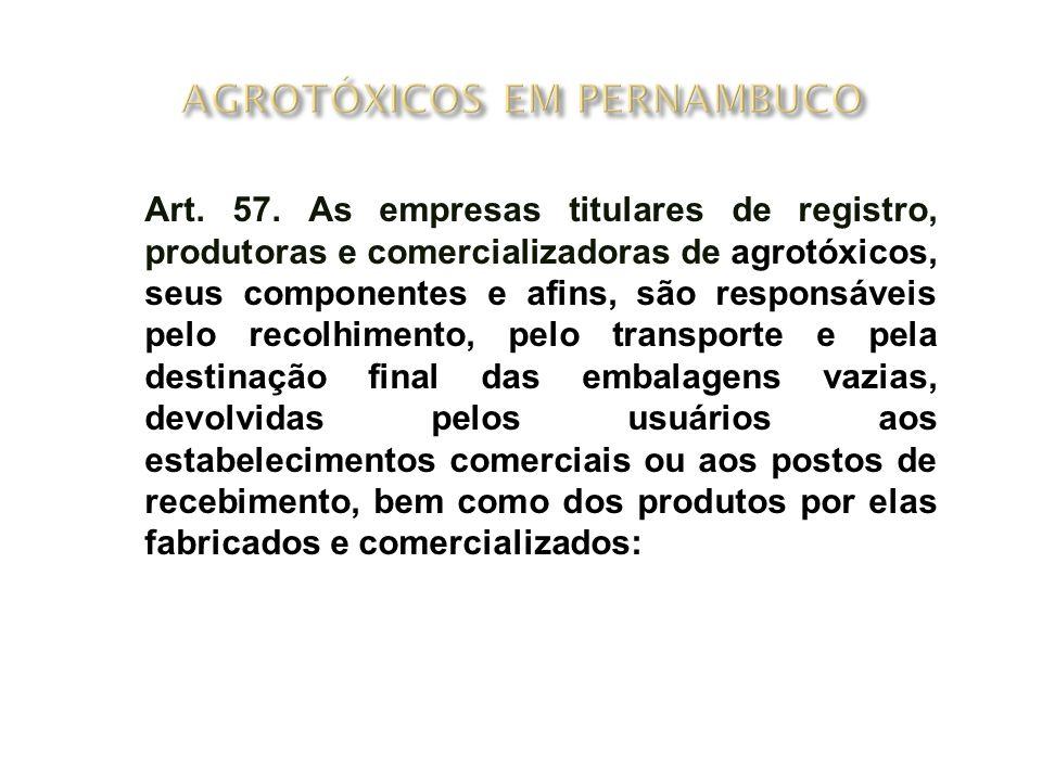 Art. 57. As empresas titulares de registro, produtoras e comercializadoras de agrotóxicos, seus componentes e afins, são responsáveis pelo recolhiment
