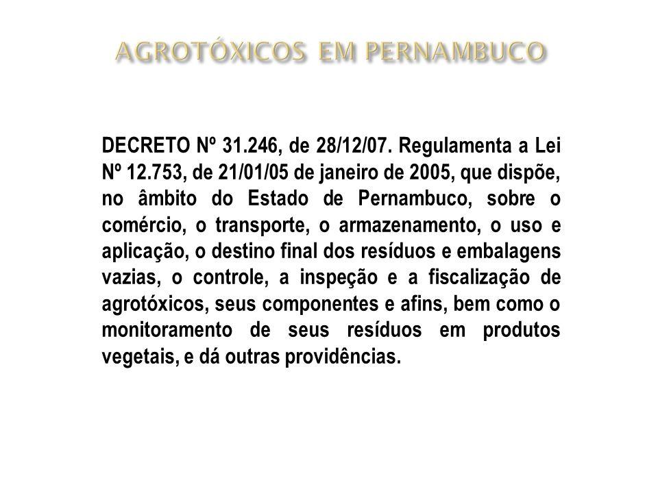 DECRETO Nº 31.246, de 28/12/07. Regulamenta a Lei Nº 12.753, de 21/01/05 de janeiro de 2005, que dispõe, no âmbito do Estado de Pernambuco, sobre o co
