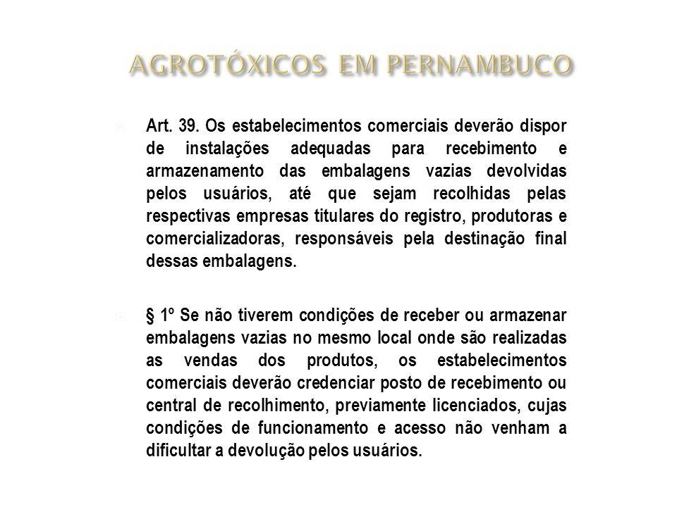  Art. 39. Os estabelecimentos comerciais deverão dispor de instalações adequadas para recebimento e armazenamento das embalagens vazias devolvidas pe