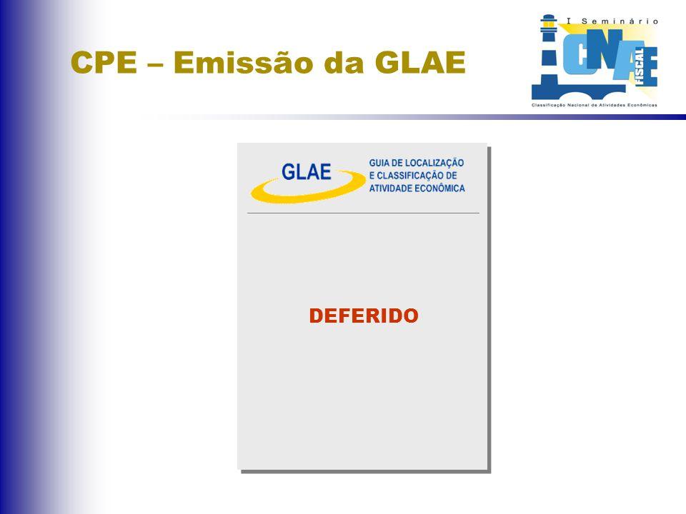 CPE – Emissão da GLAE DEFERIDO