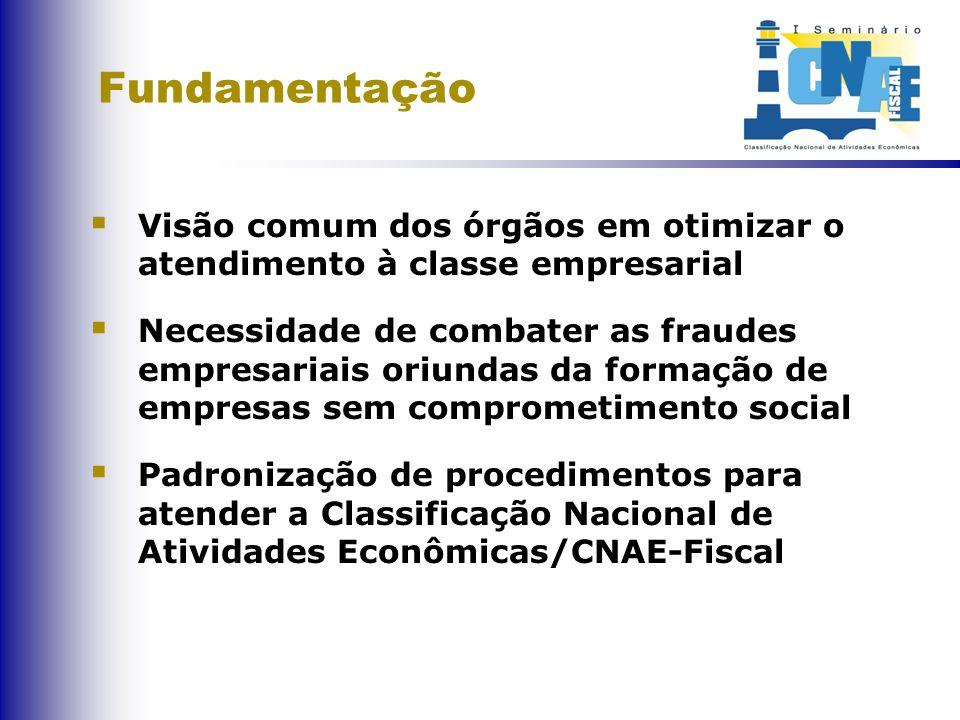 Fundamentação  Visão comum dos órgãos em otimizar o atendimento à classe empresarial  Necessidade de combater as fraudes empresariais oriundas da formação de empresas sem comprometimento social  Padronização de procedimentos para atender a Classificação Nacional de Atividades Econômicas/CNAE-Fiscal