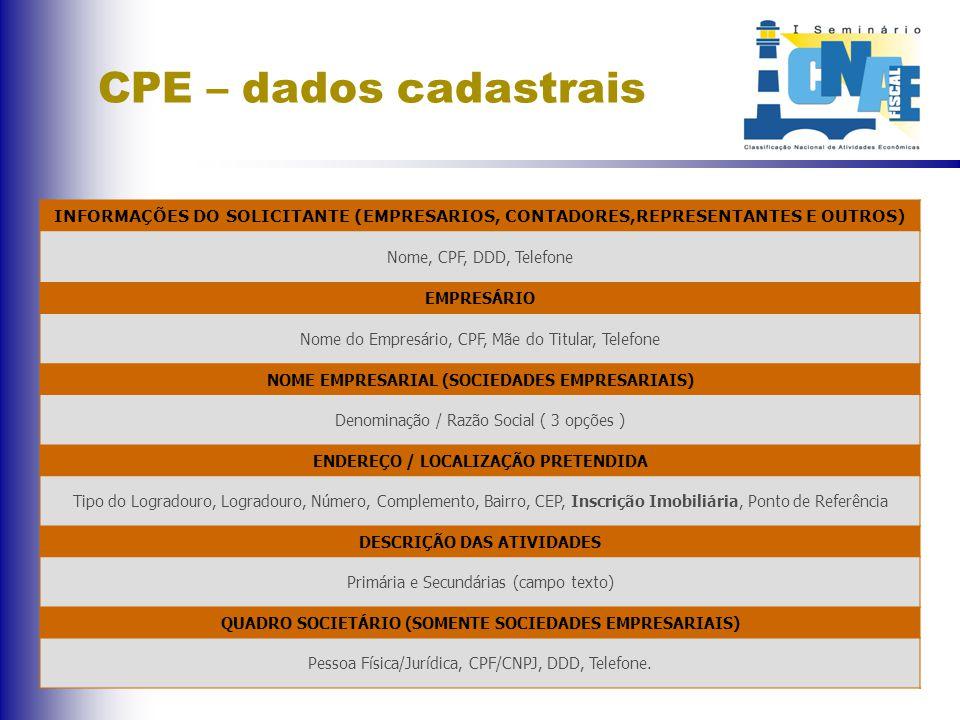 CPE – dados cadastrais INFORMAÇÕES DO SOLICITANTE (EMPRESARIOS, CONTADORES,REPRESENTANTES E OUTROS) Nome, CPF, DDD, Telefone EMPRESÁRIO Nome do Empresário, CPF, Mãe do Titular, Telefone NOME EMPRESARIAL (SOCIEDADES EMPRESARIAIS) Denominação / Razão Social ( 3 opções ) ENDEREÇO / LOCALIZAÇÃO PRETENDIDA Tipo do Logradouro, Logradouro, Número, Complemento, Bairro, CEP, Inscrição Imobiliária, Ponto de Referência DESCRIÇÃO DAS ATIVIDADES Primária e Secundárias (campo texto) QUADRO SOCIETÁRIO (SOMENTE SOCIEDADES EMPRESARIAIS) Pessoa Física/Jurídica, CPF/CNPJ, DDD, Telefone.