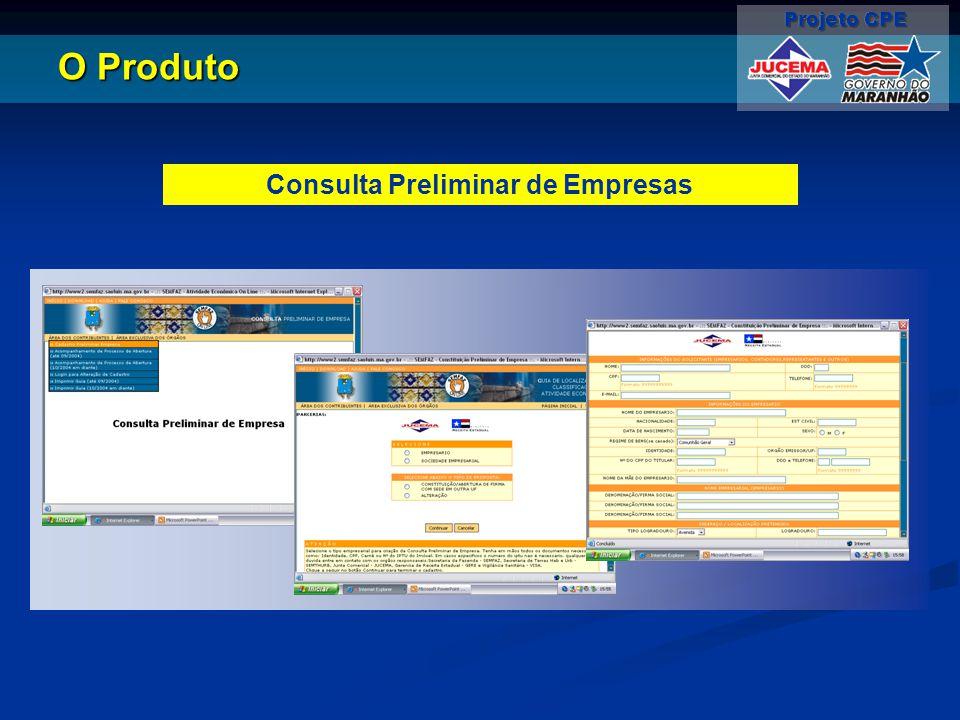 O Produto Consulta Preliminar de Empresas