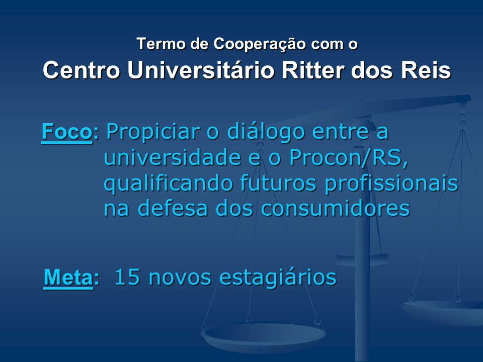 Termo de Cooperação com o Centro Universitário Ritter dos Reis Foco: Propiciar o diálogo entre a universidade e o Procon/RS, qualificando futuros profissionais na defesa dos consumidores Meta: 15 novos estagiários Meta: 15 novos estagiários