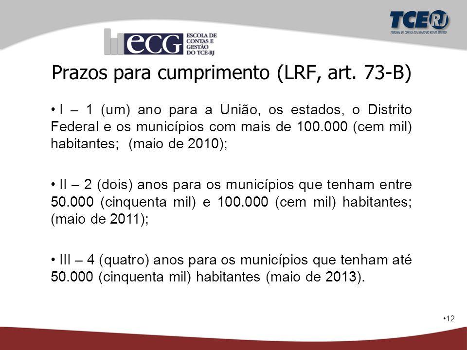 12 Prazos para cumprimento (LRF, art. 73-B) I – 1 (um) ano para a União, os estados, o Distrito Federal e os municípios com mais de 100.000 (cem mil)