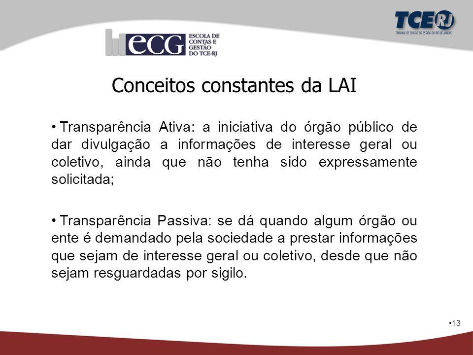 13 Conceitos constantes da LAI Transparência Ativa: a iniciativa do órgão público de dar divulgação a informações de interesse geral ou coletivo, aind