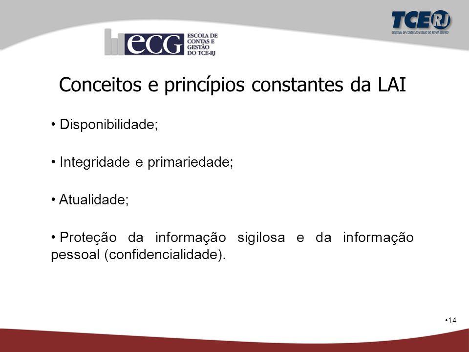 14 Conceitos e princípios constantes da LAI Disponibilidade; Integridade e primariedade; Atualidade; Proteção da informação sigilosa e da informação p