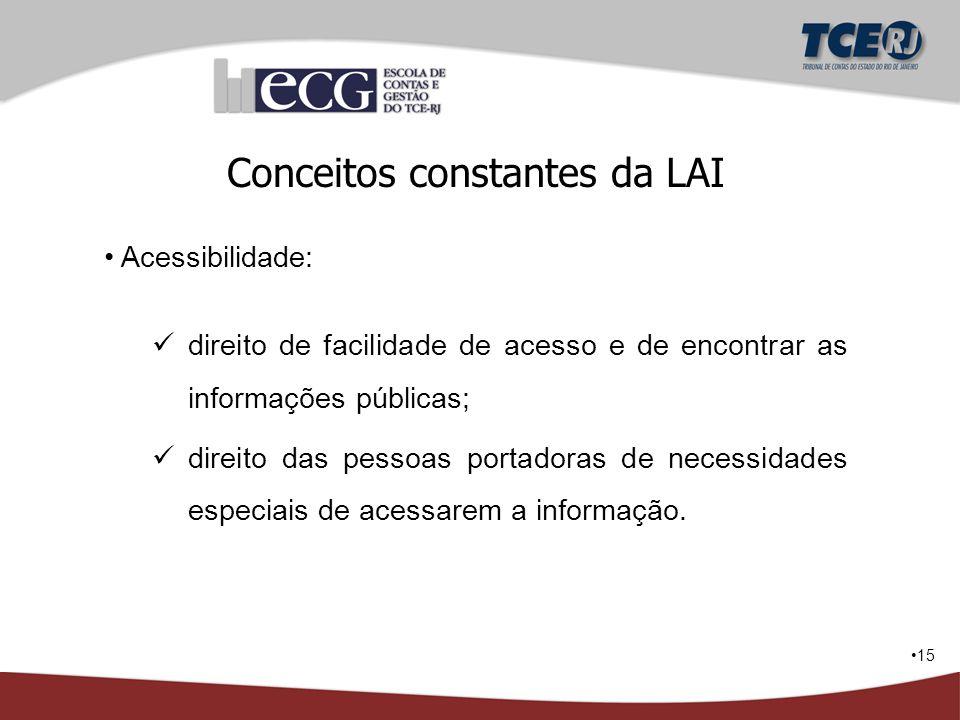 15 Conceitos constantes da LAI Acessibilidade: direito de facilidade de acesso e de encontrar as informações públicas; direito das pessoas portadoras