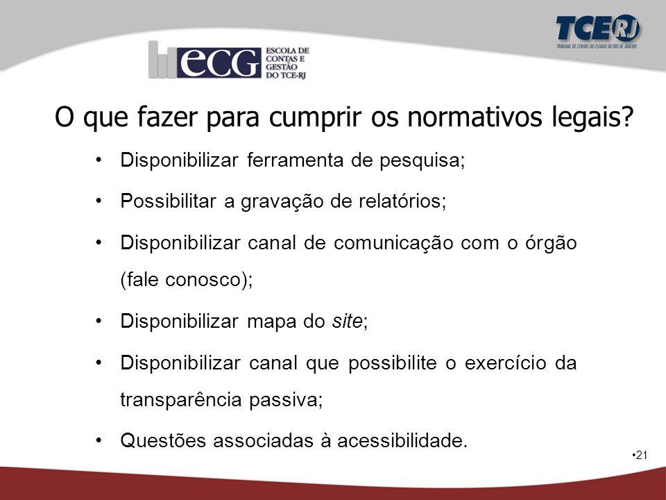 21 O que fazer para cumprir os normativos legais? Disponibilizar ferramenta de pesquisa; Possibilitar a gravação de relatórios; Disponibilizar canal d