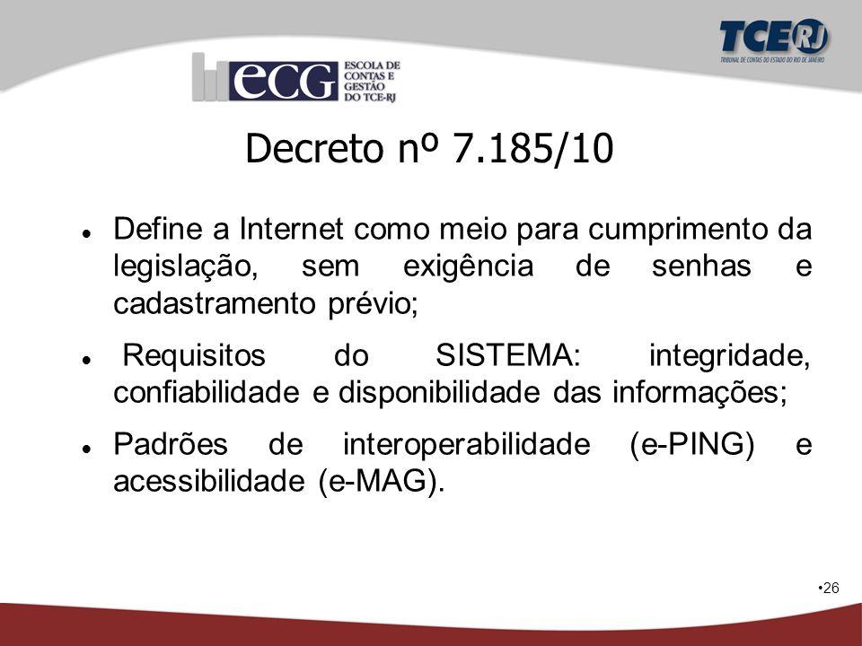 26 Decreto nº 7.185/10 ● Define a Internet como meio para cumprimento da legislação, sem exigência de senhas e cadastramento prévio; ● Requisitos do S
