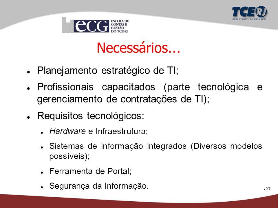 27 Necessários... ● Planejamento estratégico de TI; ● Profissionais capacitados (parte tecnológica e gerenciamento de contratações de TI); ● Requisito