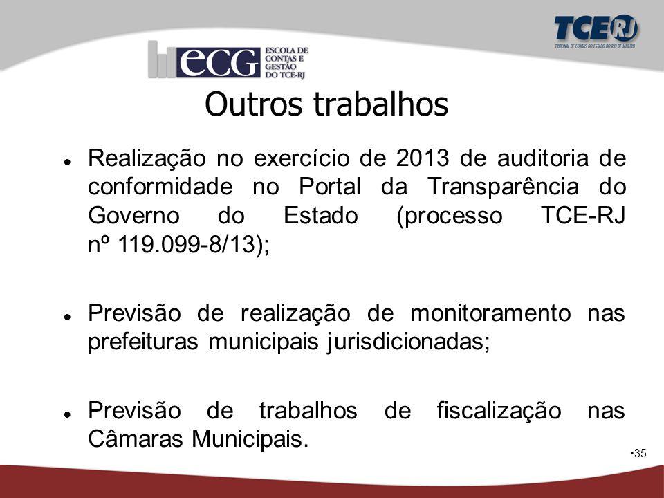 35 Outros trabalhos ● Realização no exercício de 2013 de auditoria de conformidade no Portal da Transparência do Governo do Estado (processo TCE-RJ nº
