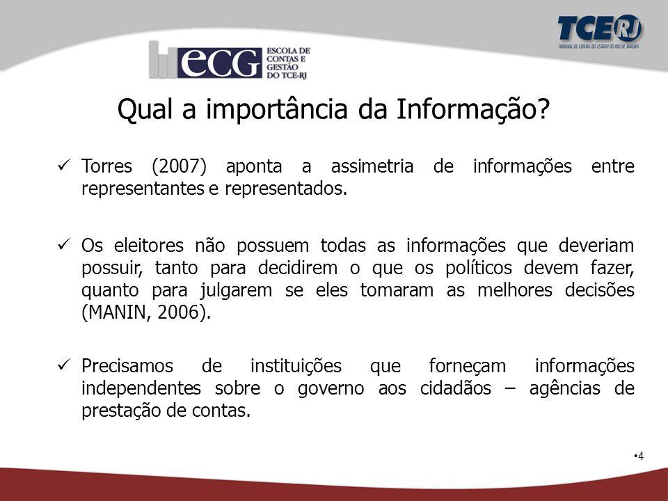 4 Qual a importância da Informação? Torres (2007) aponta a assimetria de informações entre representantes e representados. Os eleitores não possuem to