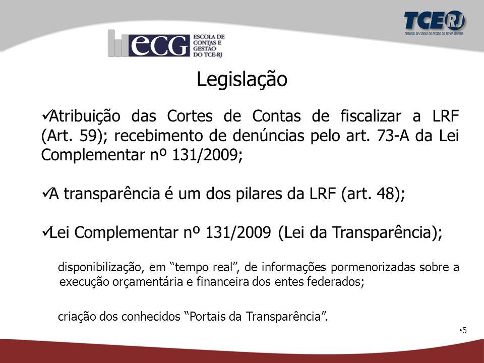 5 Legislação Atribuição das Cortes de Contas de fiscalizar a LRF (Art. 59); recebimento de denúncias pelo art. 73-A da Lei Complementar nº 131/2009; A