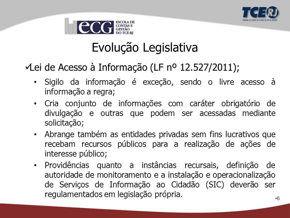 6 Evolução Legislativa Lei de Acesso à Informação (LF nº 12.527/2011); Sigilo da informação é exceção, sendo o livre acesso à informação a regra; Cria