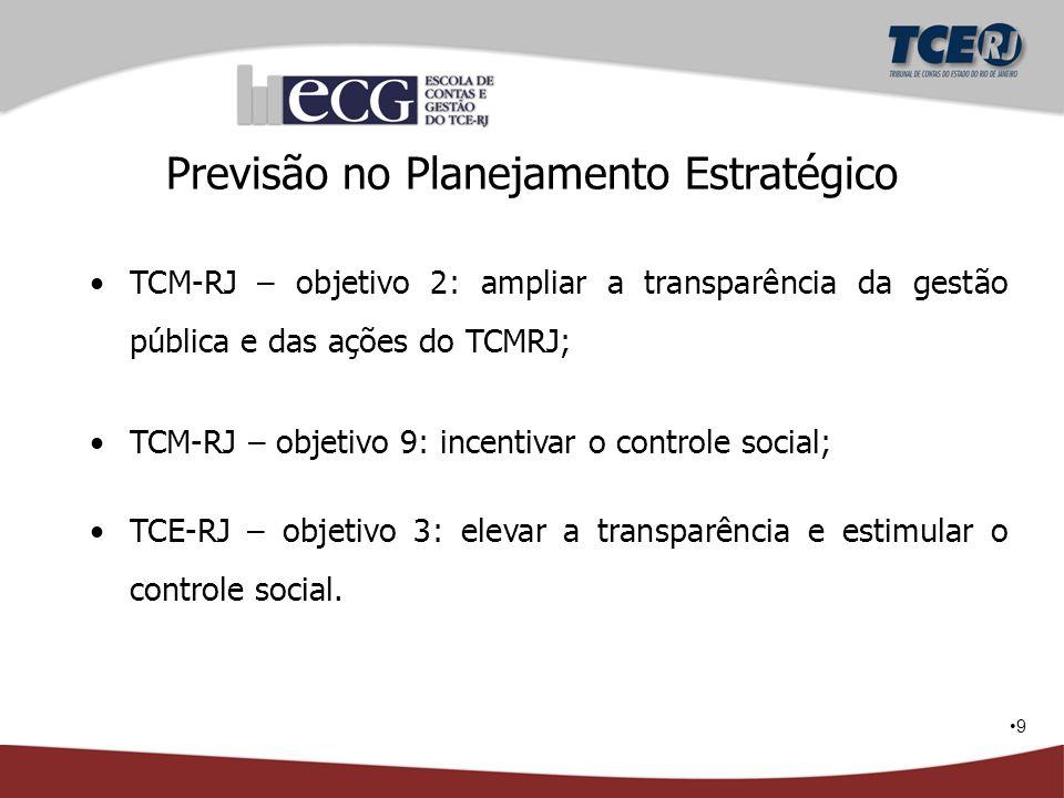 9 Previsão no Planejamento Estratégico TCM-RJ – objetivo 2: ampliar a transparência da gestão pública e das ações do TCMRJ; TCM-RJ – objetivo 9: incen