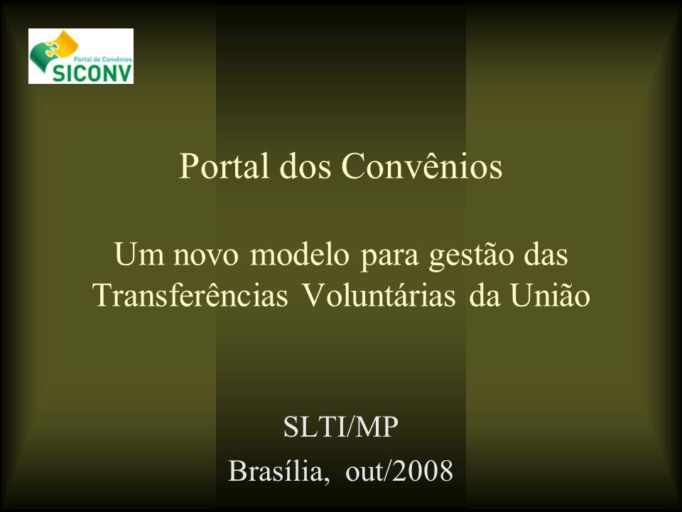 Portal dos Convênios Um novo modelo para gestão das Transferências Voluntárias da União SLTI/MP Brasília, out/2008