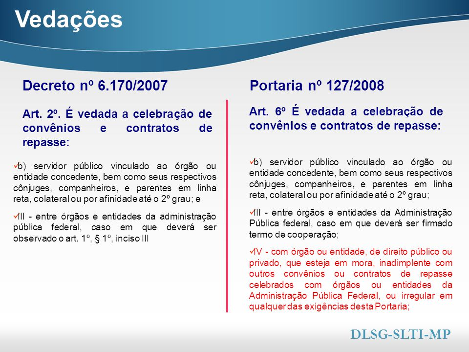 Here comes your footer  Page 8 Vedações Art. 2º. É vedada a celebração de convênios e contratos de repasse: Decreto nº 6.170/2007 Art. 6º É vedada a