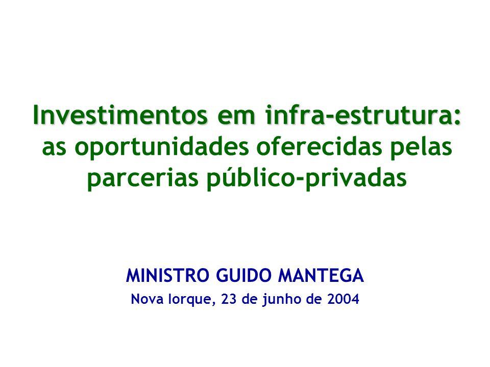 Investimentos em infra-estrutura: Investimentos em infra-estrutura: as oportunidades oferecidas pelas parcerias público-privadas MINISTRO GUIDO MANTEGA Nova Iorque, 23 de junho de 2004