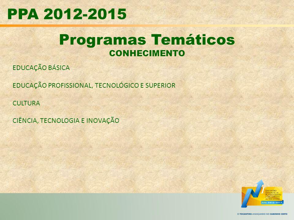 PPA 2012-2015 Programas Temáticos CONHECIMENTO EDUCAÇÃO BÁSICA EDUCAÇÃO PROFISSIONAL, TECNOLÓGICO E SUPERIOR CULTURA CIÊNCIA, TECNOLOGIA E INOVAÇÃO
