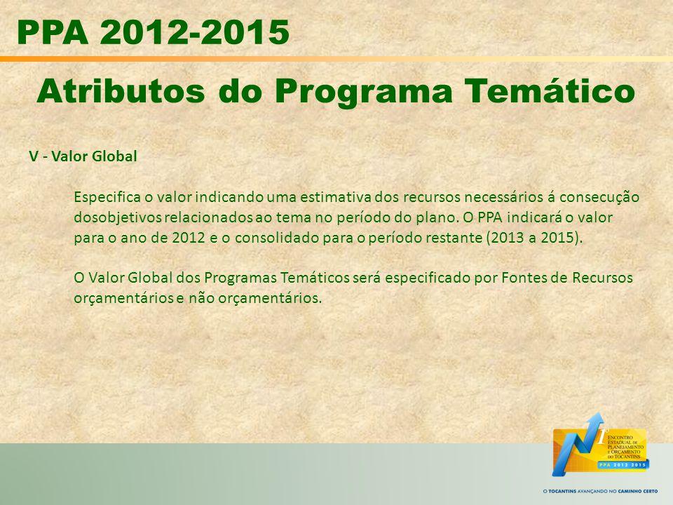 PPA 2012-2015 Atributos do Programa Temático V - Valor Global Especifica o valor indicando uma estimativa dos recursos necessários á consecução dosobj