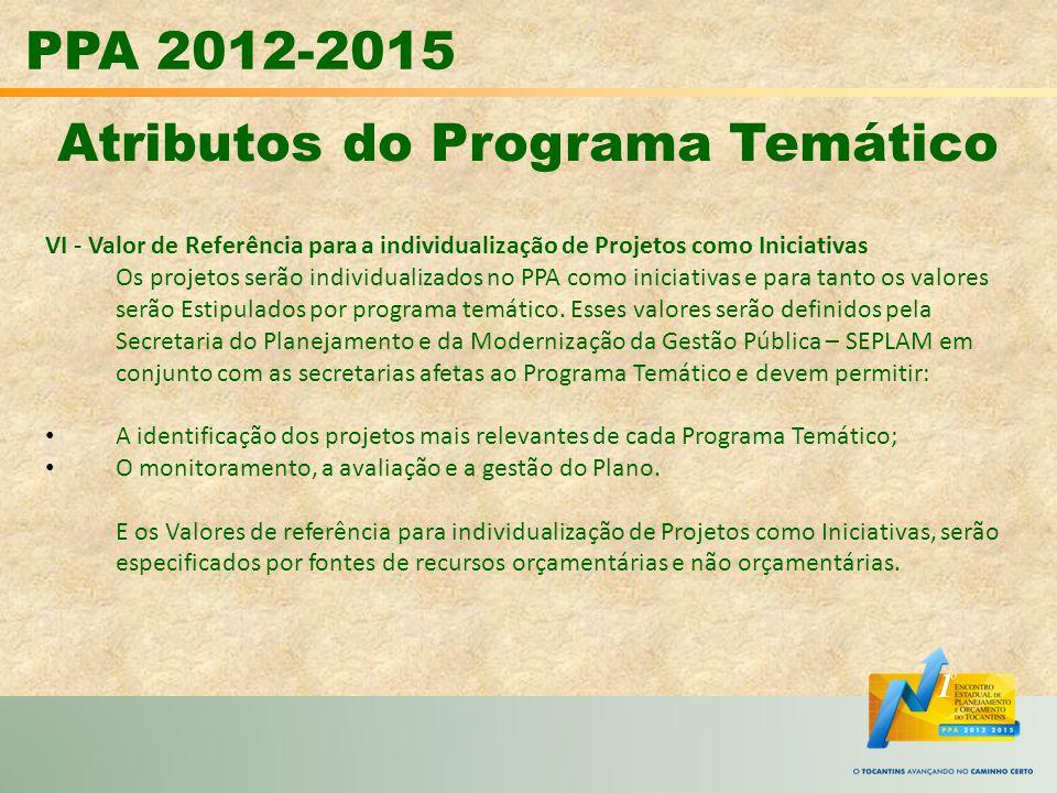 PPA 2012-2015 Atributos do Programa Temático VI - Valor de Referência para a individualização de Projetos como Iniciativas Os projetos serão individua