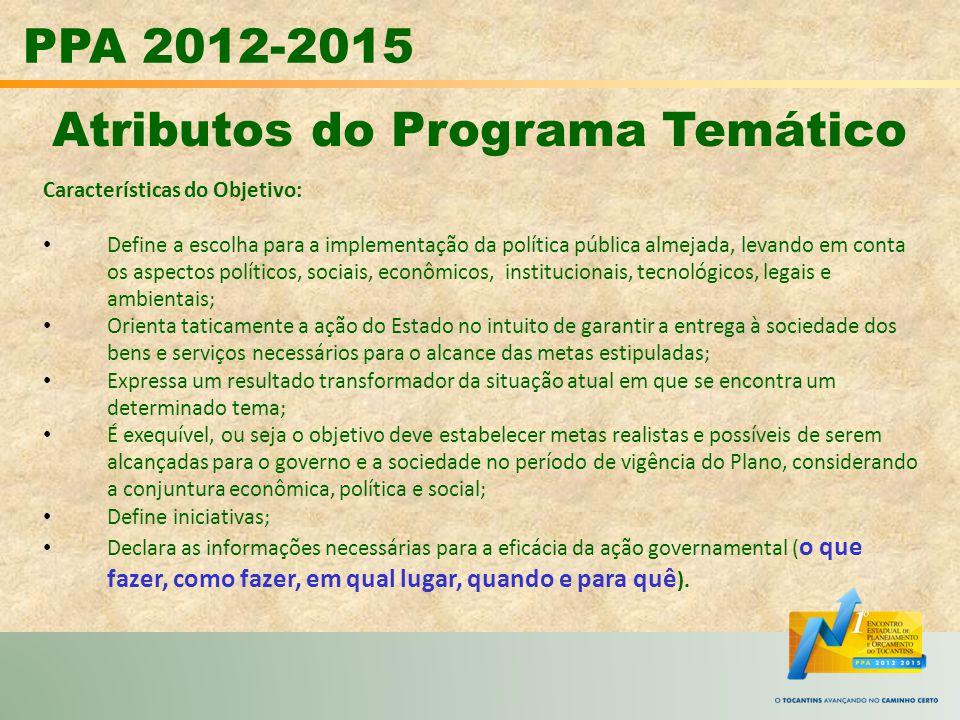 PPA 2012-2015 Atributos do Programa Temático Características do Objetivo: Define a escolha para a implementação da política pública almejada, levando