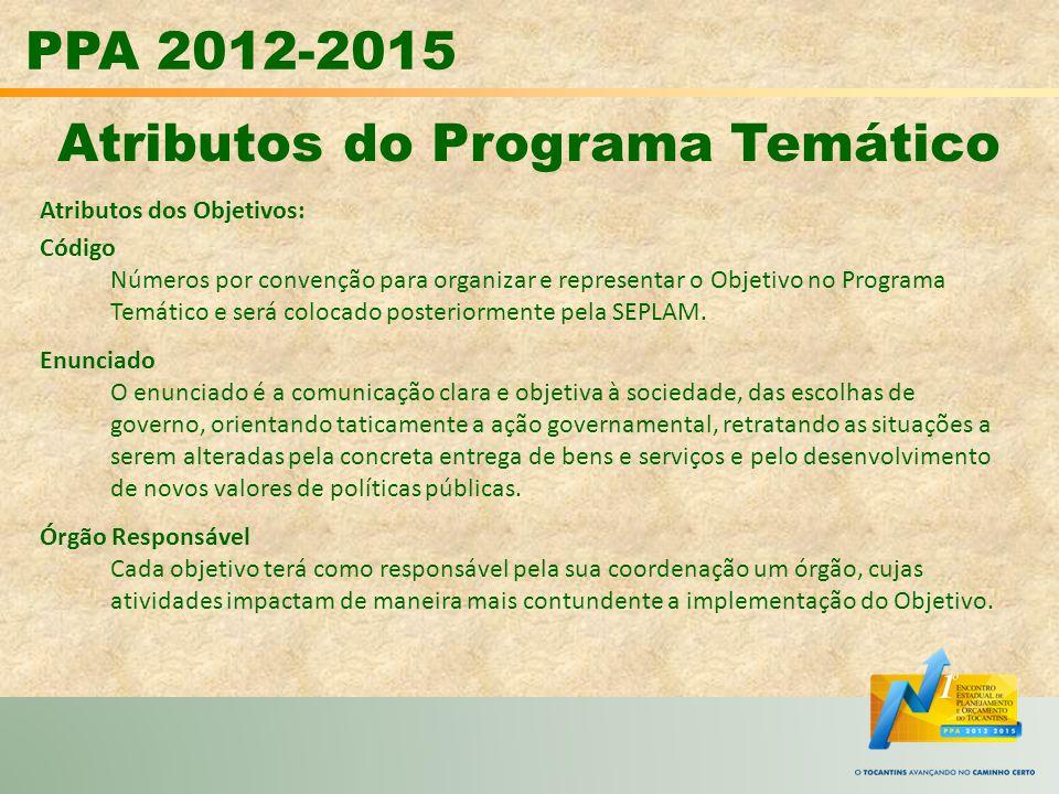 PPA 2012-2015 Atributos do Programa Temático Atributos dos Objetivos: Código Números por convenção para organizar e representar o Objetivo no Programa
