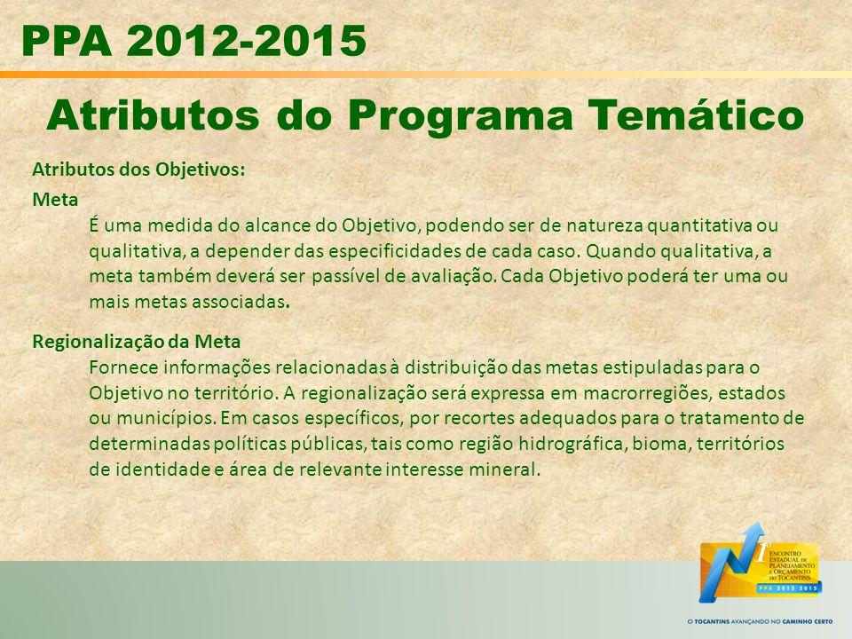 PPA 2012-2015 Atributos do Programa Temático Atributos dos Objetivos: Meta É uma medida do alcance do Objetivo, podendo ser de natureza quantitativa o