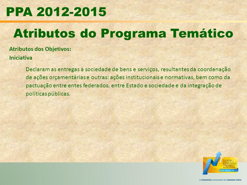 PPA 2012-2015 Atributos do Programa Temático Atributos dos Objetivos: Iniciativa Declaram as entregas à sociedade de bens e serviços, resultantes da c