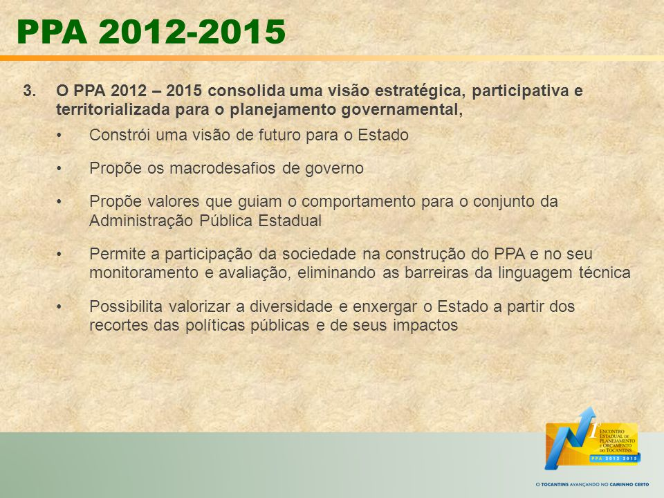 3.O PPA 2012 – 2015 consolida uma visão estratégica, participativa e territorializada para o planejamento governamental, Constrói uma visão de futuro