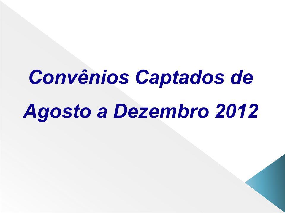 Convênios Captados de Agosto a Dezembro 2012