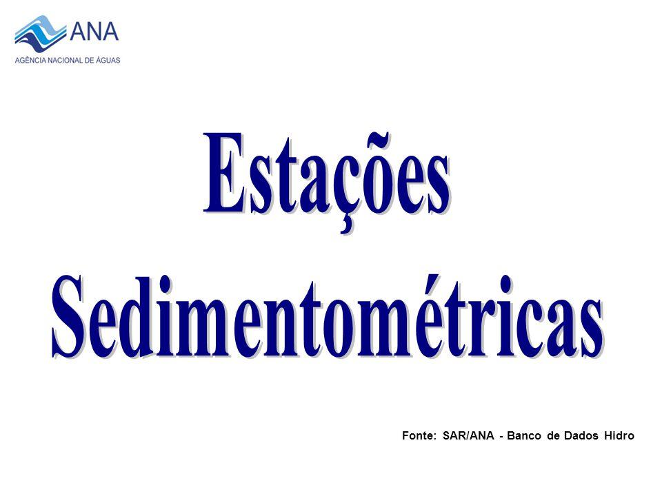 2007 Total de 256 Estações Fonte: SAR/ANA - Banco de Dados Hidro