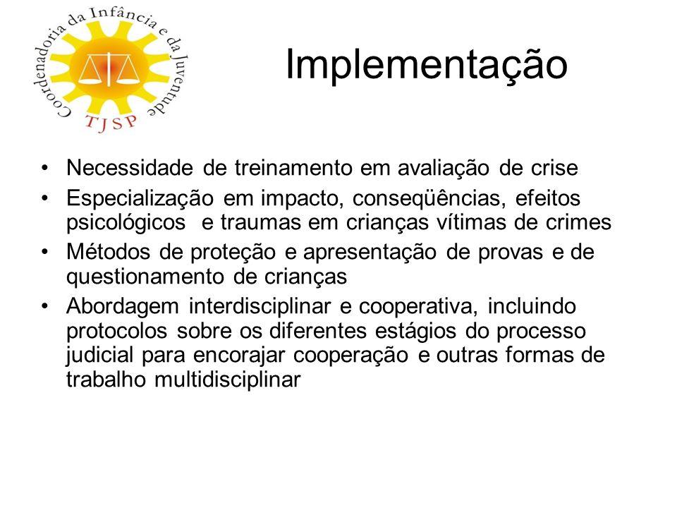 Implementação Necessidade de treinamento em avaliação de crise Especialização em impacto, conseqüências, efeitos psicológicos e traumas em crianças ví