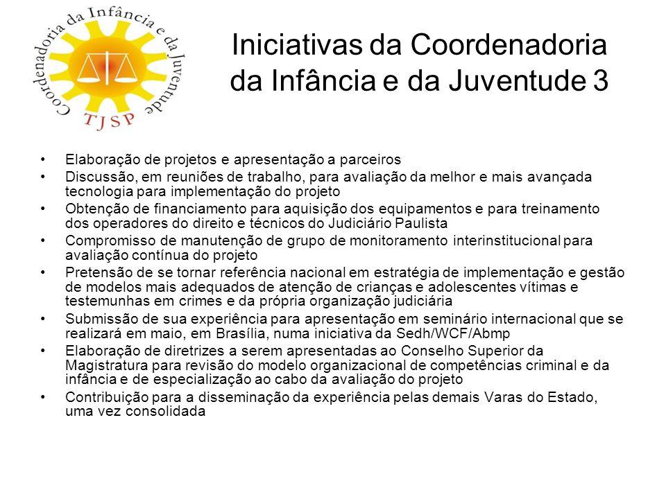 Iniciativas da Coordenadoria da Infância e da Juventude 3 Elaboração de projetos e apresentação a parceiros Discussão, em reuniões de trabalho, para a