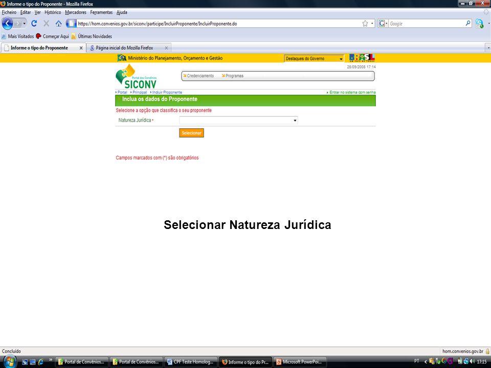 Selecionar Natureza Jurídica