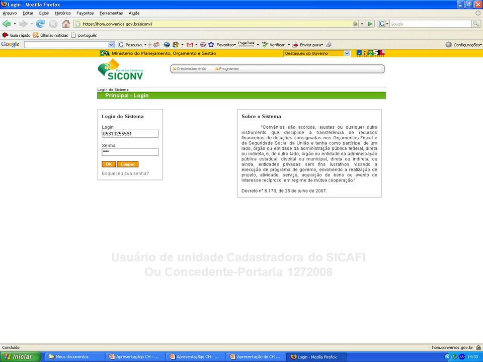 Usuário de unidade Cadastradora do SICAFI Ou Concedente-Portaria 1272008