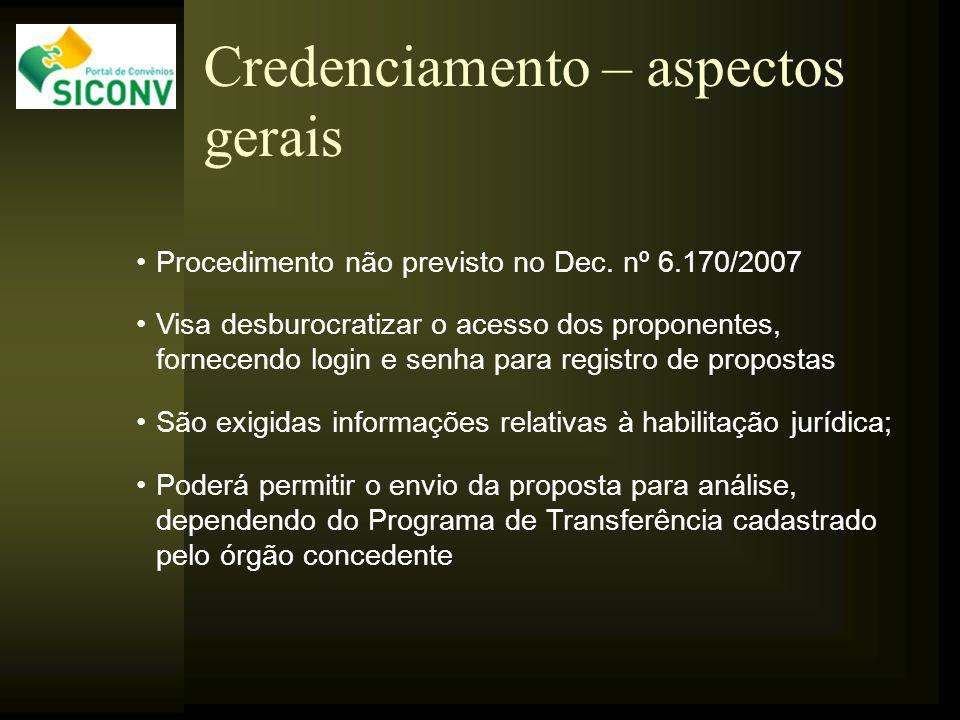 Procedimento não previsto no Dec. nº 6.170/2007 Visa desburocratizar o acesso dos proponentes, fornecendo login e senha para registro de propostas São