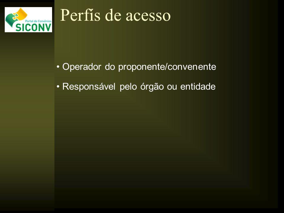Operador do proponente/convenente Responsável pelo órgão ou entidade Perfís de acesso