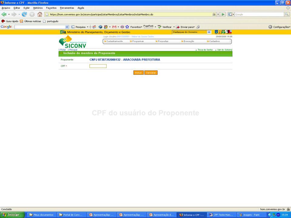 CPF do usuário do Proponente