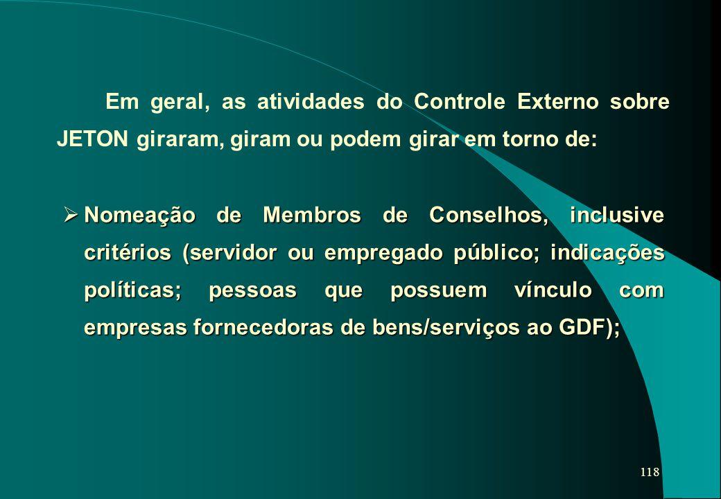 118  Nomeação de Membros de Conselhos, inclusive critérios (servidor ou empregado público; indicações políticas; pessoas que possuem vínculo com empr